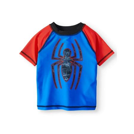 Spider-Man Short Sleeve Rash Guard Swim Top (Toddler Boys) ()