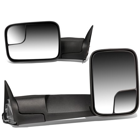 Telescoping Tow Mirror (For 94-02 Dodge Ram BR/BE Pair of Black Telescoping Manual Foldable Side View Towing Mirror 99 00)