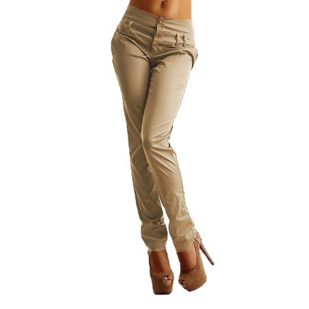 Women Slim Casual Buttons Skinny Leggings Pencil Long Pants (Track Pants With Buttons On The Side)