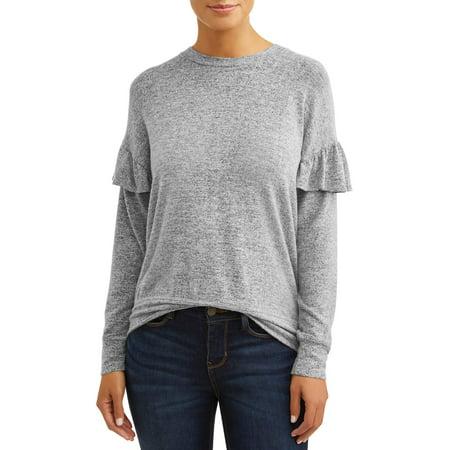 Rhinestone Trim Sweater - Women's Ruffle Trim Pullover Sweater
