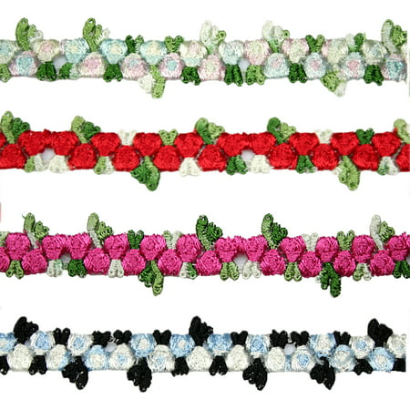 "Lily 5/8"" Red Blue Pink Black Small Rose Flowers Embroidered Floral Lace Trim"