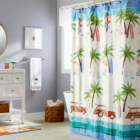 "SKL Home Paradise Beach Fabric Shower Curtain, Multicolor, 70"" x 72"""