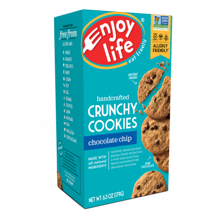(2 Pack) Enjoy Life Foods Gluten Free, Allergy Friendly Chocolate Chip Crunchy Cookies, 6.3 oz, 1 ct (Vegan Halloween Cookies)
