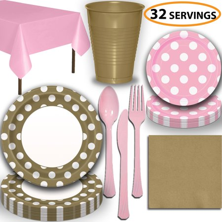 Disposable Tableware, 32 Sets - Gold and Lovely Pink Dots - Dinner Plates, Dessert Plates, Cups, Lunch Napkins, Cutlery, and Tablecloths:  Party Supplies Set