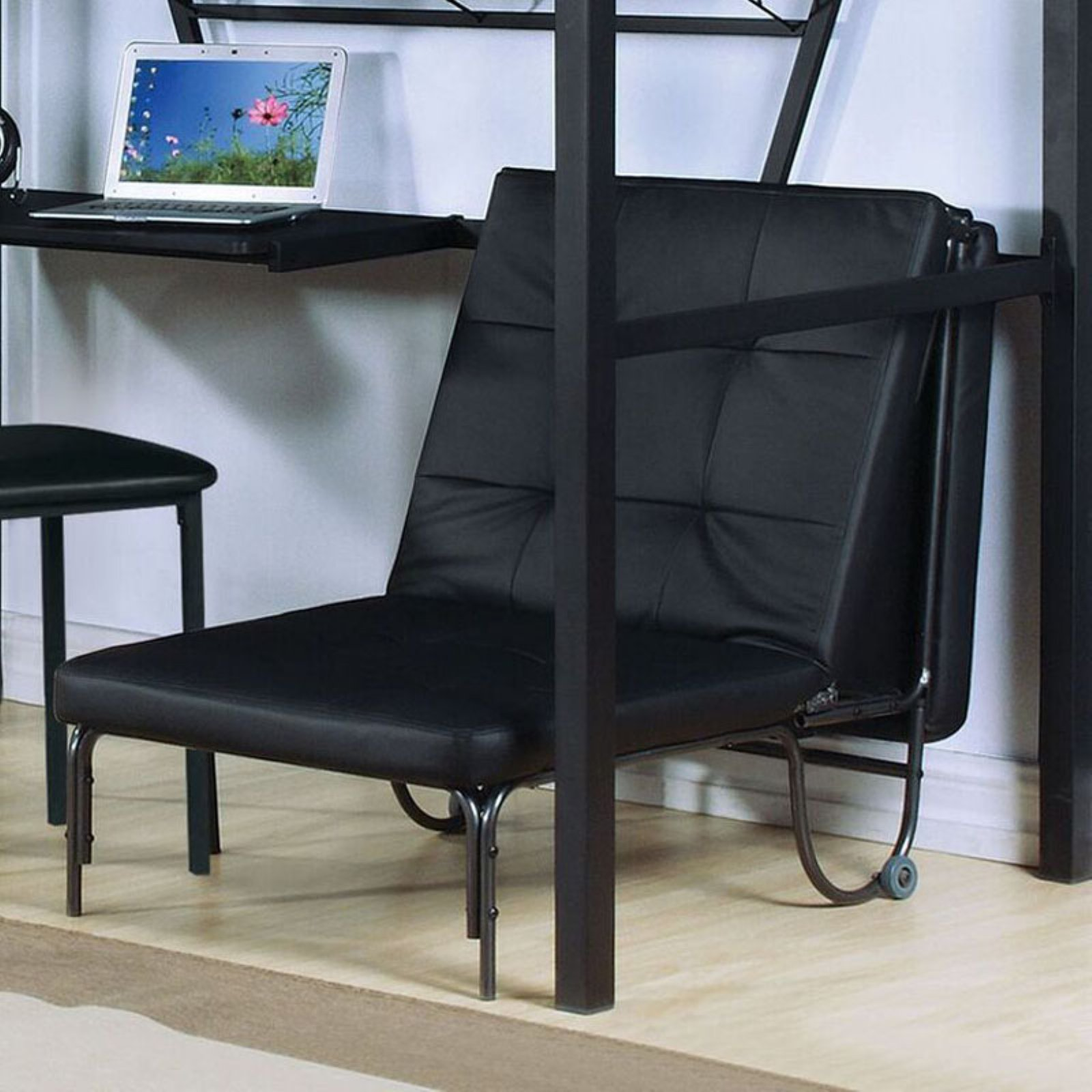 ACME Furniture Senon Adjustable Futon Chair, Silver and Black