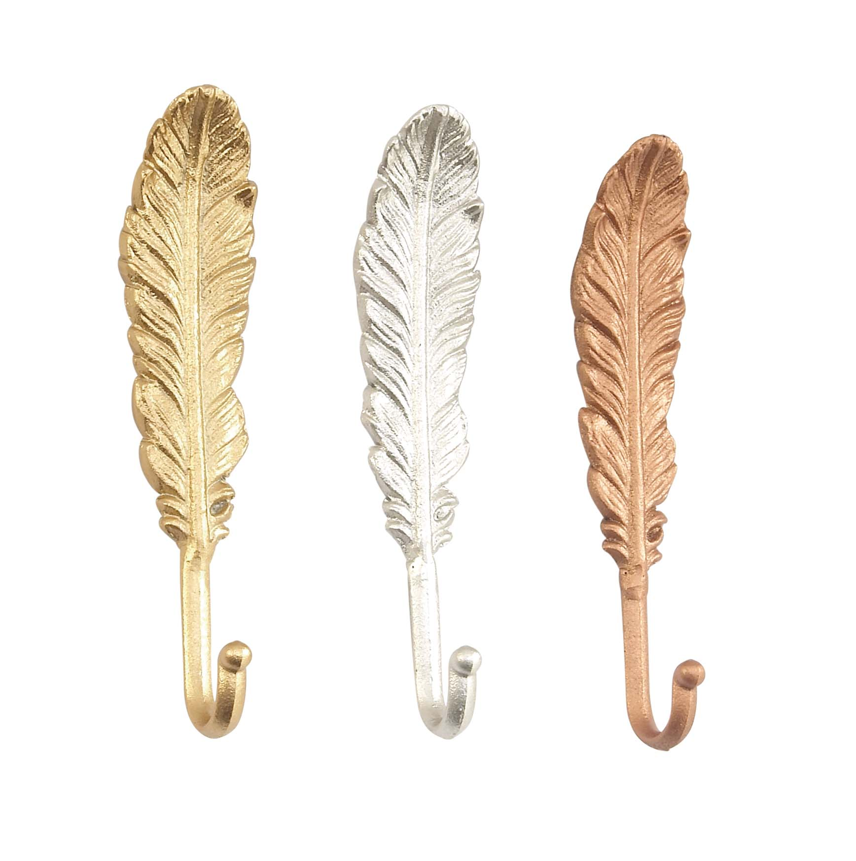 Decmode Set of Three - 9 Inch Traditional Iron Feather Wall Hooks, Multicolor