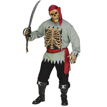 Pirate Skeleton Costume (Skeleton Pirate Mens Adult Zombie Buccaneer Halloween)