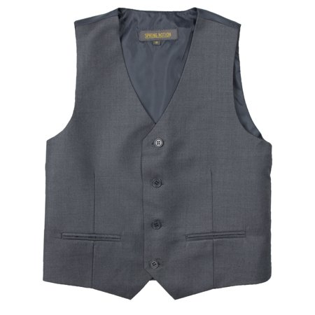 Spring Notion Big Boys' Two Button Suit Vest, Charcoal](Boys Wool Suits)