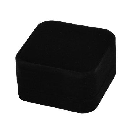 Wedding Velvet Square Ring Necklace Jewelry Gift Holder Case Box Black 7 x - Black Velvet Jewelry Travel Roll