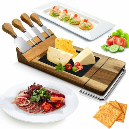 NutriChef PKCZBD50 - Bamboo Food Serving & Food Slicer Platter - Cheese Board Presentation Set with Built-in Slicing Blade, Slate Stone (Slab Built Pottery)