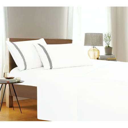 Holiday Gift 4 PC Sheet set Bedding Set Queen White ()