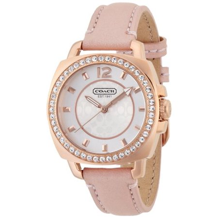 (Coach Women's Mini Boyfriend Pink Leather Rose Gold Watch)