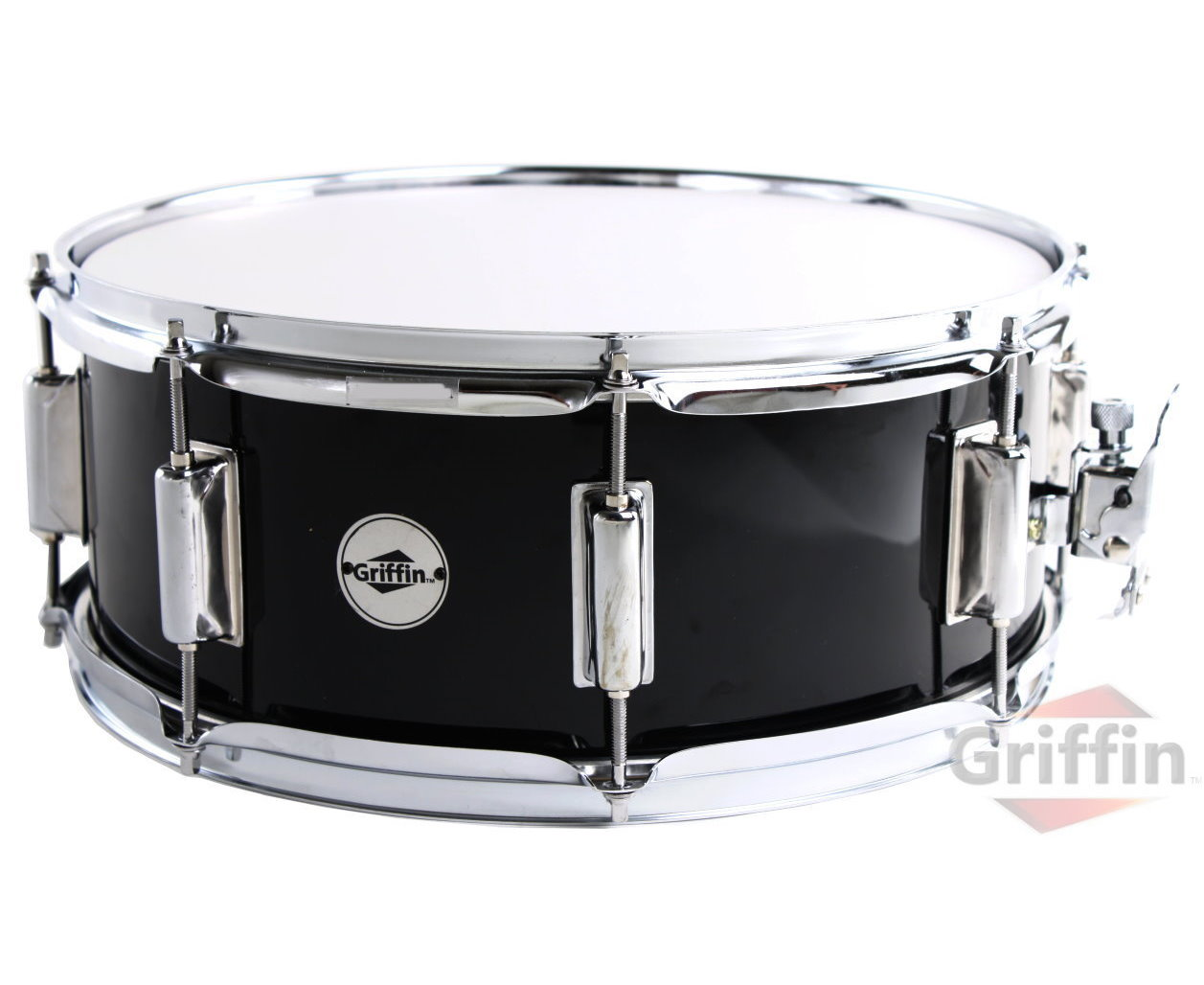 """Griffin Snare Drum Poplar Wood Shell 14"""" x 5.5"""" with Black PVC Glossy Finish... by Griffin"""
