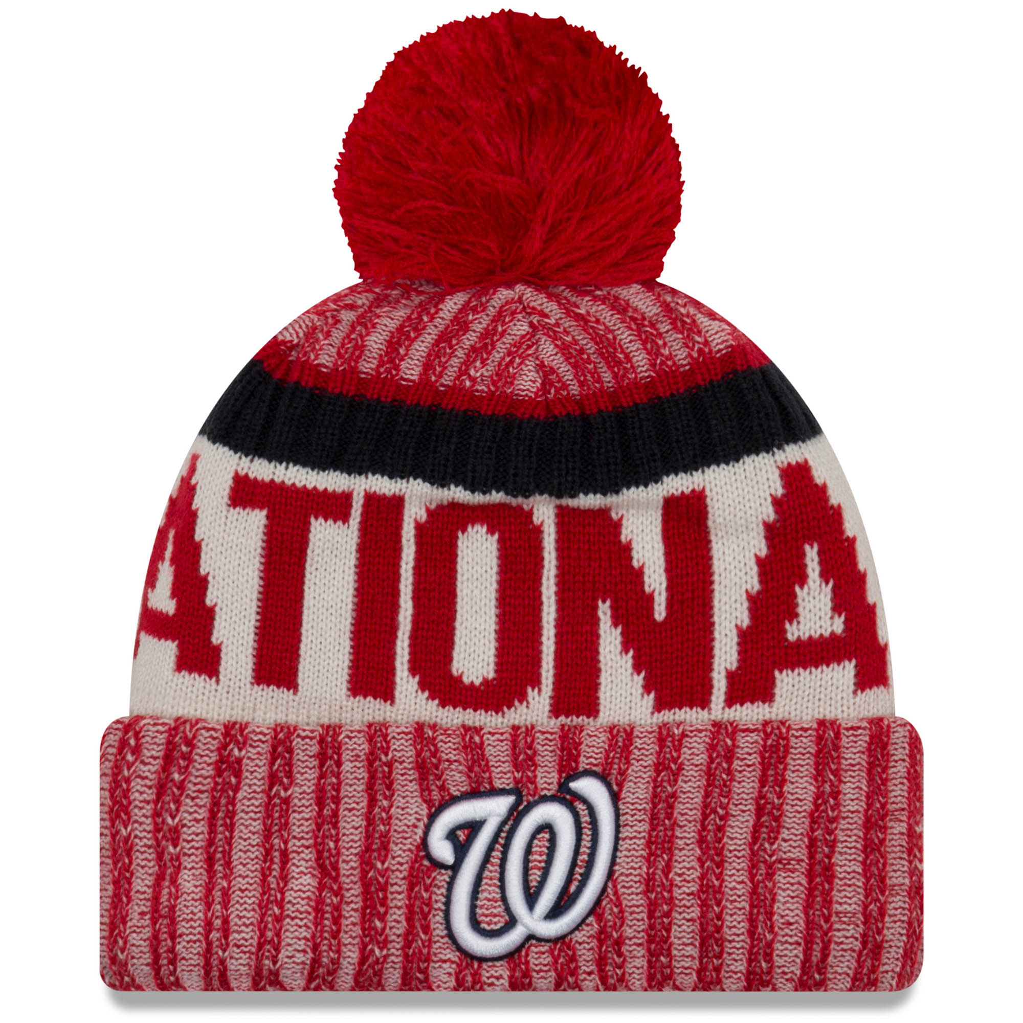 Washington Nationals New Era Sport Cuffed Knit Hat with Pom - Red - OSFA