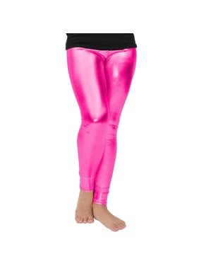 Stretch is Comfort Girl's Footless Leggings Metallic Hot Pink Small