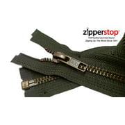 "ZipperStop Wholesale Authorized Distributor YKK® 27"" inch Medium Weight Jacket Zipper YKK #5 Antique Brass ~ Separating ~ 567 Black Olive (1 Zipper/pack) Crafter's Special"