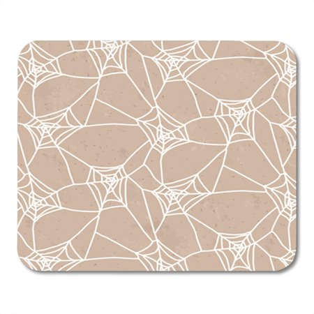 Halloween Cartoon Characters (SIDONKU Geometric White Spiderweb Brown Halloween Pattern Abstract Cartoon Character Mousepad Mouse Pad Mouse Mat 9x10)