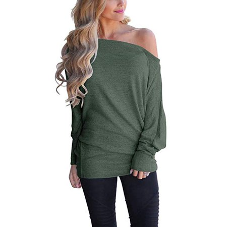 4059e9f2e04b shop vista - Women s Off Shoulder Loose Pullover Sweater Batwing Sleeve  Knit Jumper Oversized Tunics Top - Walmart.com