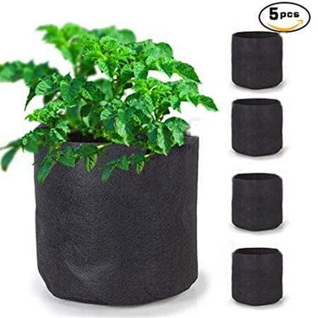 2 Gallon Potato Grow Bags Aeration Tomato Fabric Plant Pots Garden Bag Planter Vegetable Growing Outdoor 5 Pcs