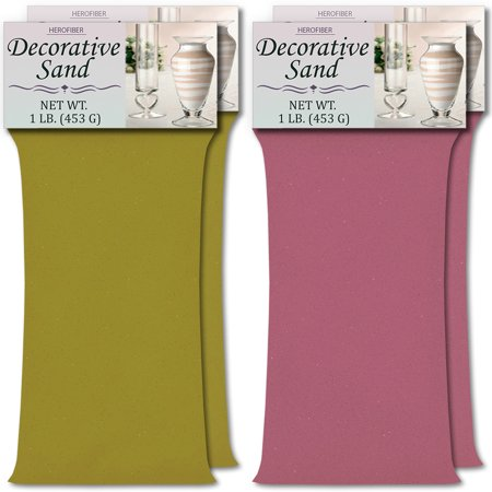 HeroFiber Colored Unity Sand (4 lbs.) - Lime Yellow and Lavender - 2 lbs. per Color - Decorative Art Sand for Weddings, Vase Filling, Kids' Craft Play ()
