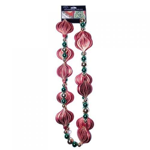 Santas Best Ltd SBC5849881003 Garland Regal Bead Gold Emerald Red Matte 8ft
