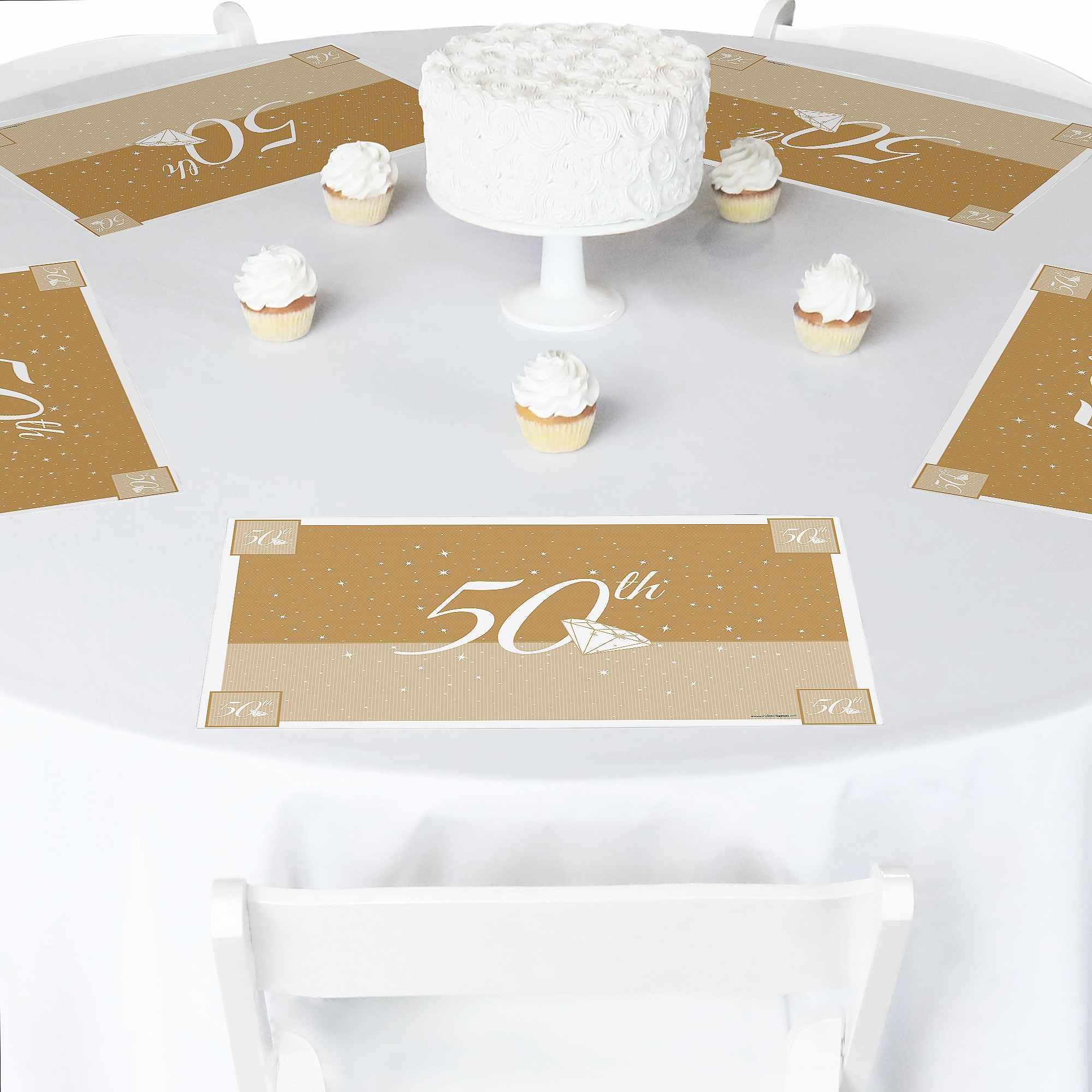 Paper in Gold Writing Placemats 12 of Happy 27th Wedding Anniversary