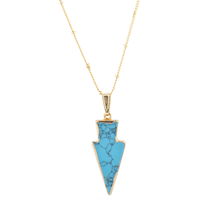 Lux Accessories Gold Tone Synthetic Turquoise Stone Arrowhead Pendant Necklace