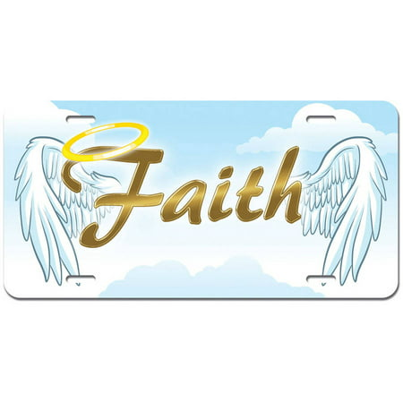 Faith with Halo and Angel Wings - Religious Christianity Novelty Metal Vanity License Tag Plate - Religious Novelties