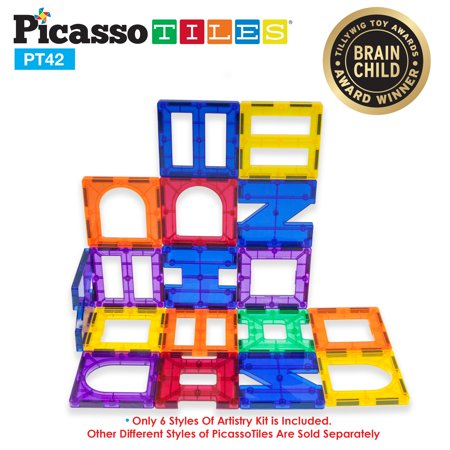 PicassoTiles 42 Piece Designer Artistry Set Clear 3D Magnet Building Blocks Tiles