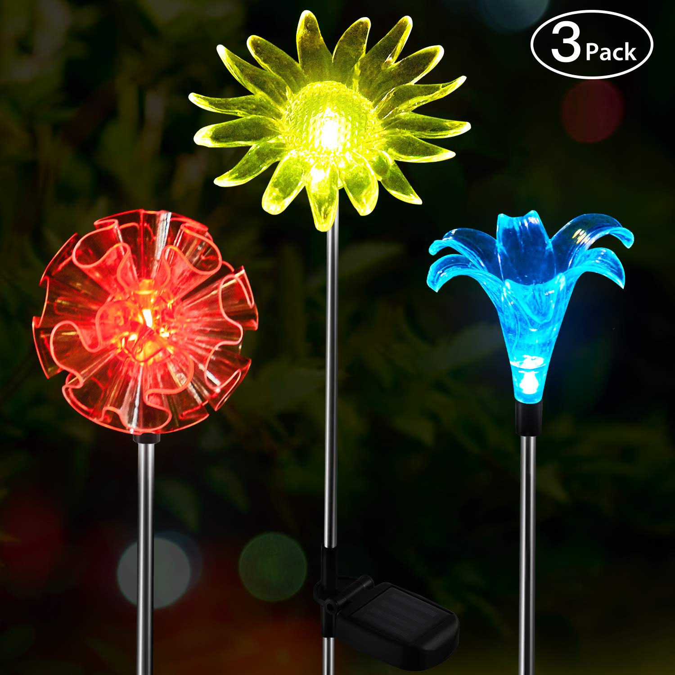 3 Pack Lily Sunflower Solar Flower Stake Light Outdoor Garden Color Change Yard