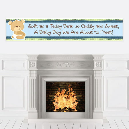 Boy Baby Teddy Bear - Baby Shower Decorations Party Banner - Green And Brown Baby Shower Decorations