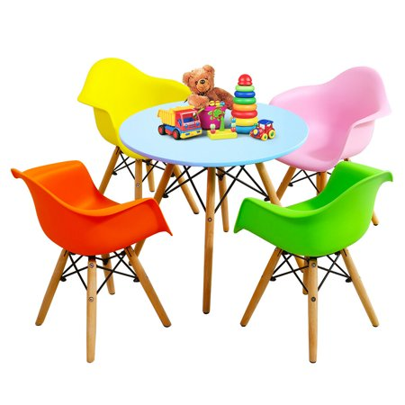 Gymax 5 PC Kids Modern Colorful Round Table Chair Set with 4 Arm