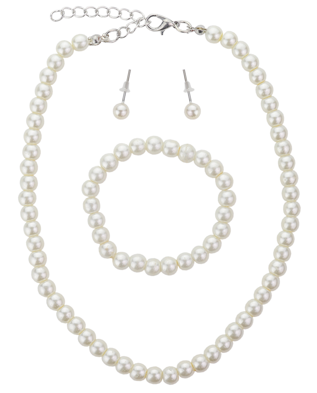 Girl's Simulated Pearl Necklace with Stretch Bracelet & Ball Stud Earrings, Cream