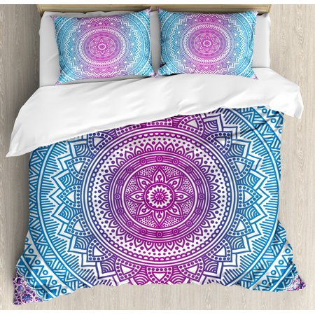 Blue And Pink King Size Duvet Cover Set Ombre Mandala Fl Star Medallion Pattern Indian Style