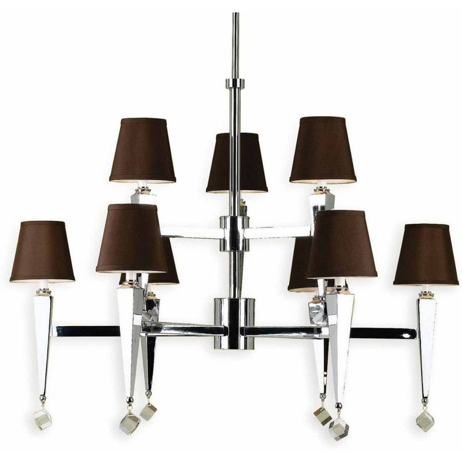 AF Lighting 6900 Nine-Light Chandelier with Round Chocolate Brown Shades