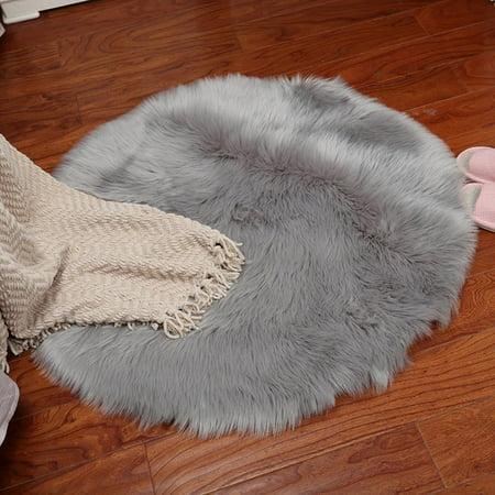 Faux Fur Rug,Grey shag Rug (Carpet) for Living Room, Fluffy Sheepskin Rug(mat) for Kids/Nursery, Fuzzy Wool Rug for Bedroom, Big Modern Rug with Thick/Soft,Floor mats ()