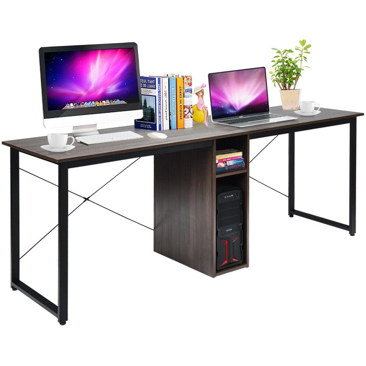Gymax 2 Person Computer Desk 79 Large Double Workstation Dual Office Desk W Storage Walmart Com Walmart Com