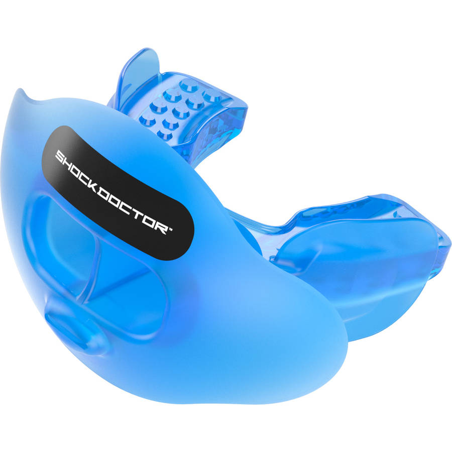 shock doctor 3300 max airflow football mouth guard with tether, trans blue, youth
