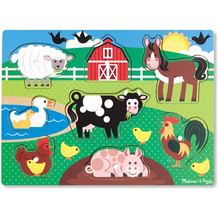 Melissa & Doug Farm Wooden Peg Puzzle, 8pc for $<!---->
