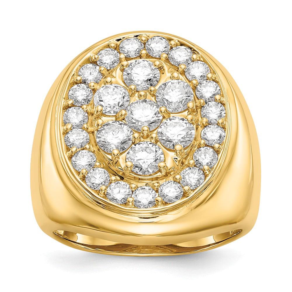 14k Yellow Gold H-I SI2 Quality Diamond men's ring. Carat Wt- 2.996ct