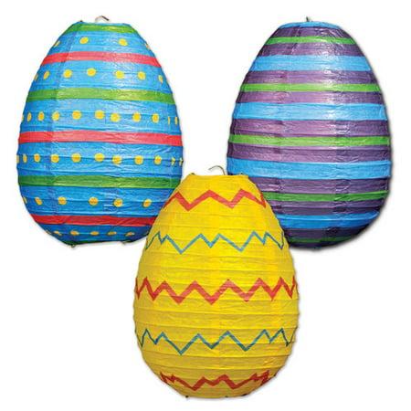 Easter Egg Paper Lanterns, Set of 3 (Easter Lantern Decorations)