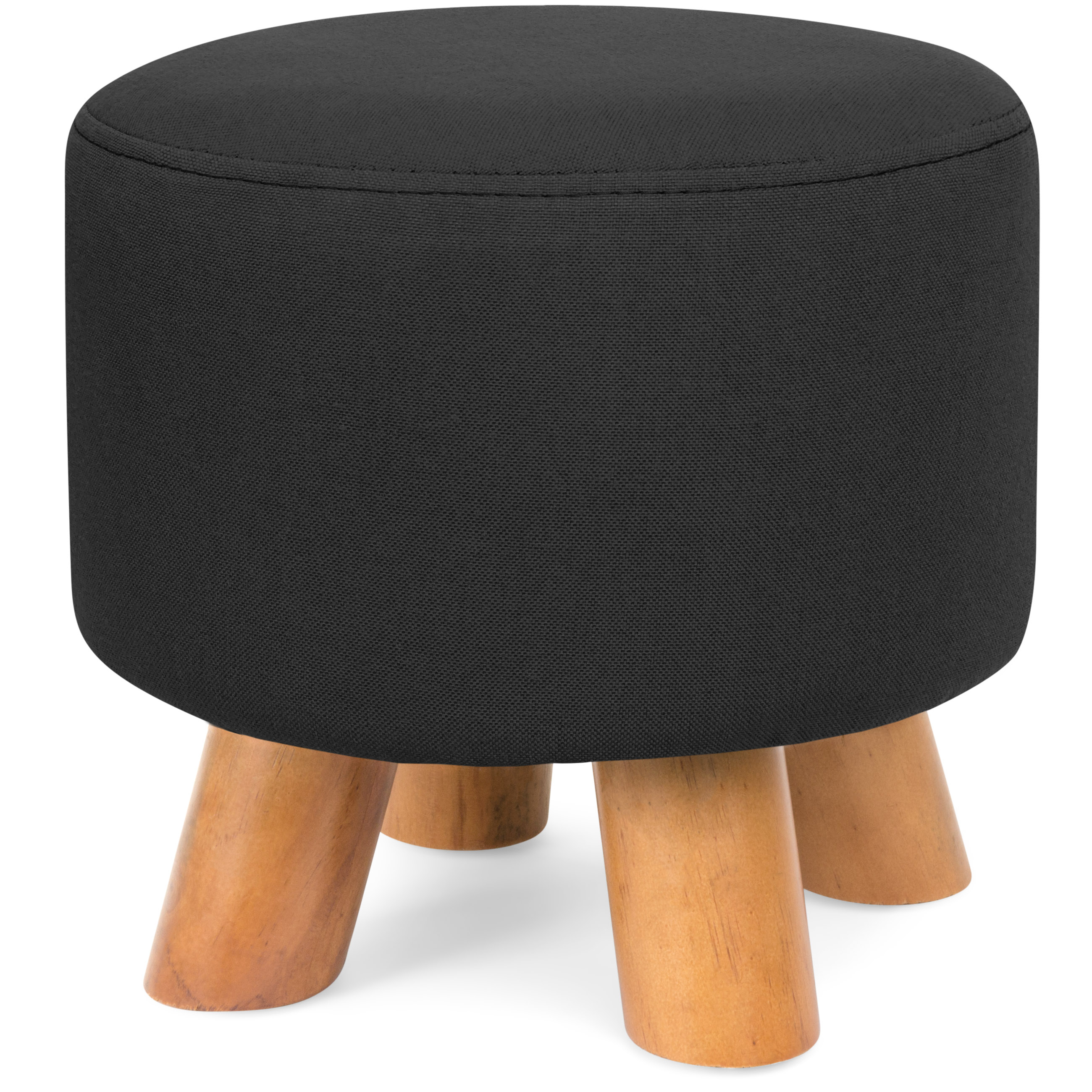 Best Choice Products Upholstered Ottoman Padded Footstool Pouf w/ Removable Linen Cover - Black