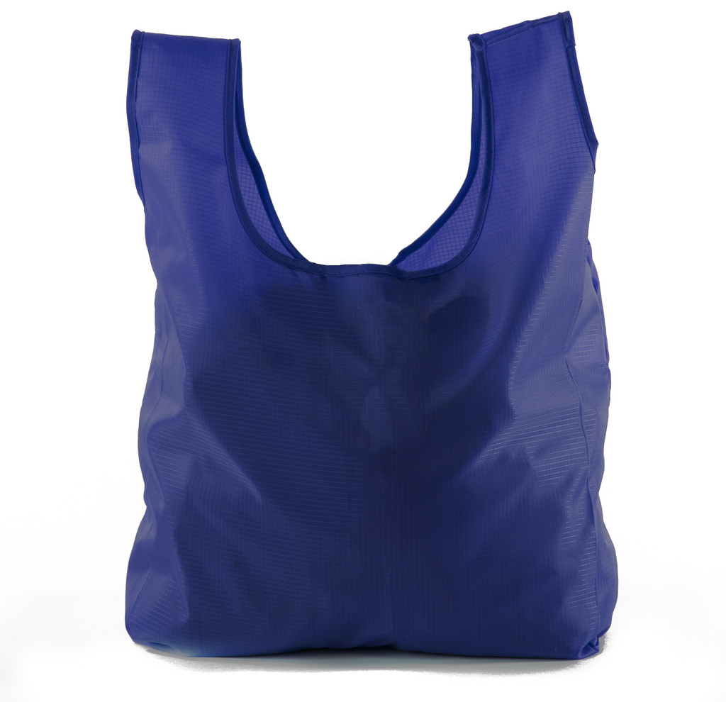 Reusable Grocery Bags | Foldable w/ Integrated String Pouch | Ripstop Nylon Tote - Navy CA2650