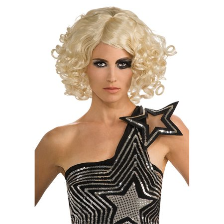 Lady Gaga Curly Hair Blonde Wig Celebrity Officially Licensed Costume Rubie's (Blonde Hair Costumes)