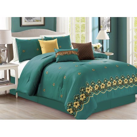 7-Pc Eleanor Floral Blossom Embroidery Comforter Set Teal Green-Blue Gold  King