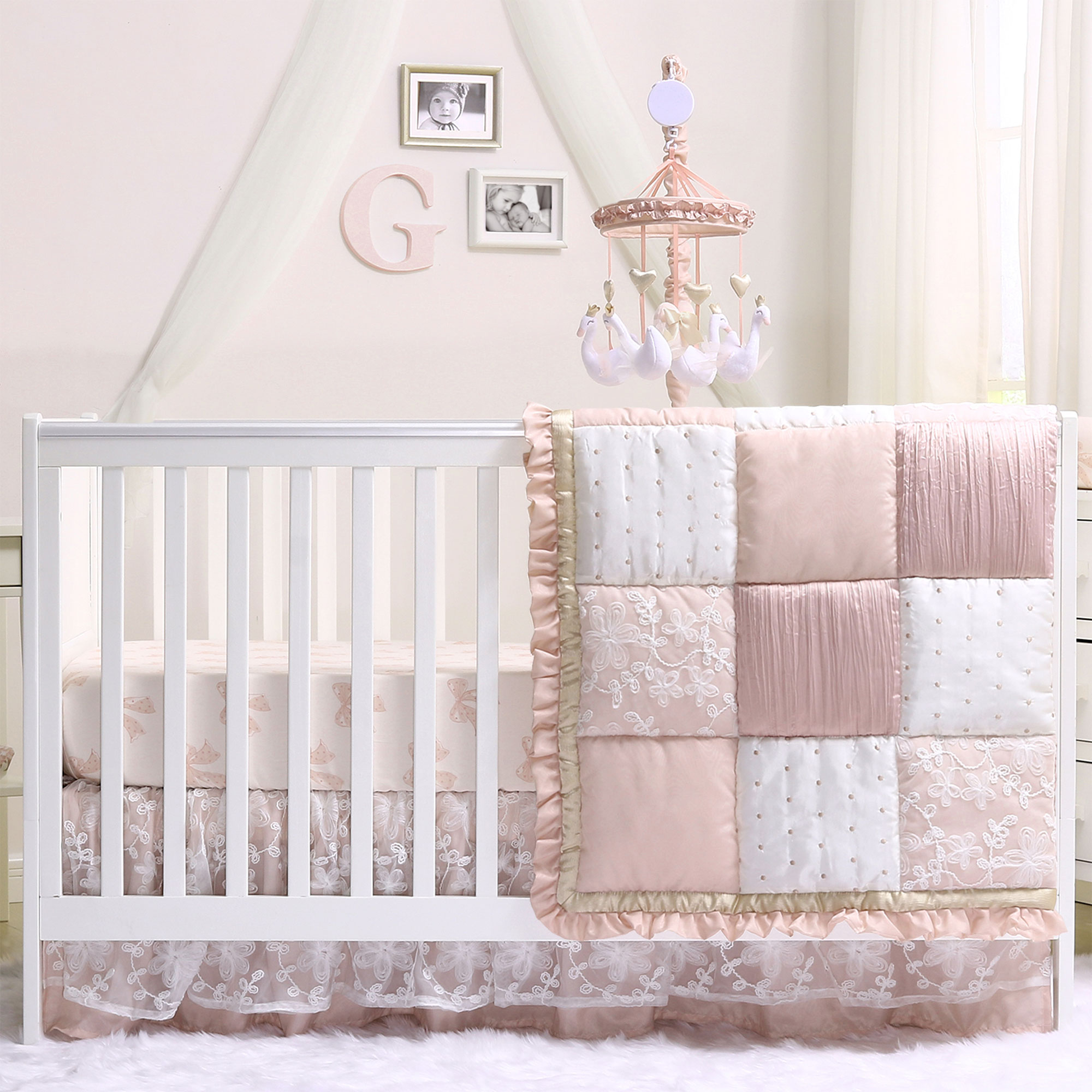 Baby Girl Crib Bedding - Dusty Pink Patchwork Design - Grace 5 Piece Set by The Peanut Shell