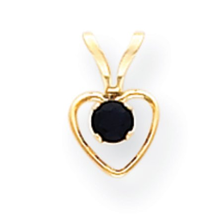 Number 15in Heart (14k Yellow Gold 15in Children's 3mm Sapphire Heart Birthstone Necklace)