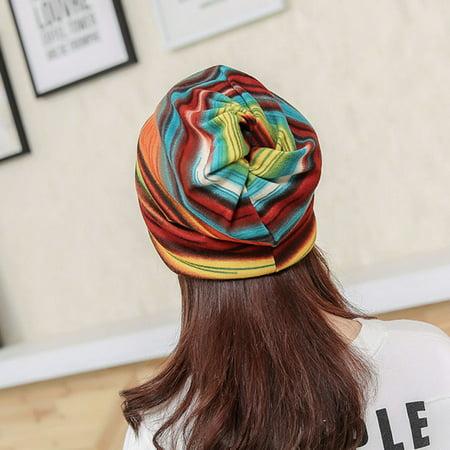 iLH - iLH Women Stripe Hat Ruffle Cancer Hat Beanie Scarf Collar Turban  Head Wrap Cap - Walmart.com 0b14624bdd45