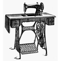 Singer Sewing Machine N19Th Century Wood Engraving Rolled Canvas Art -  (18 x 24)