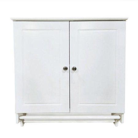 Bathroom/Kitchen Wall Mounted Cabinet White Double Door & Hanging Bar Storage - Shaker Wall Cupboard